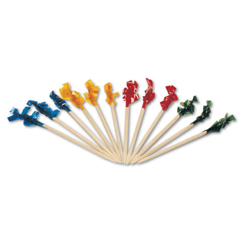 Bulk 1000 PCs Club Cellophane Frilled Toothpicks Assorted Colours 10cm