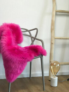 Genuine-Merino-PINK-Natural-Sheepskin-Rug-Real-Fur-Lambskin-Rug-pelt