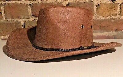 Vintage Vera Pelle Scamosciata Marrone/kaki Fedora Indiana Jones Cappello/usa/medio-mostra Il Titolo Originale