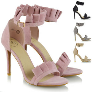 Womens-High-Heel-Sandals-Stiletto-Frill-Ankle-Strap-Ladies-Peep-Toe-Party-Shoes