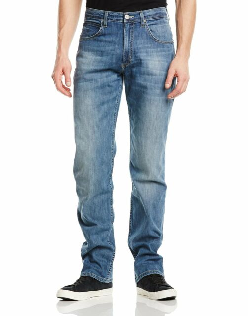 Lee Brooklyn New Men's Vintage Stretch Jeans Electric Blue Faded Denim Pants