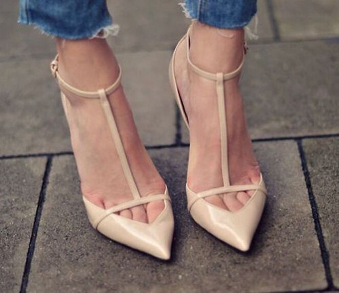 ZARA Cut out POINTED ANKLE STRAP STRAP STRAP T Bar Nude HEELS Patent Leather 7.5 EU 38 148ad0