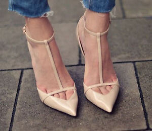 9c57e14d3387 ZARA Cut out POINTED ANKLE STRAP T Bar Nude HEELS Patent Leather ALL ...