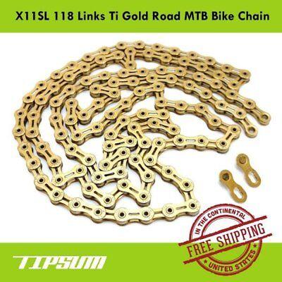 TIPSUM X11SL Ti Gold 118 Links Road MTB Bike Chain Shimano SRAM CAMPAGNOLO KMC