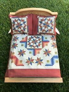 Miniature Dollhouse Bedspread Comforter 2 Pillows 1:12 scale vintage BRWN GRN