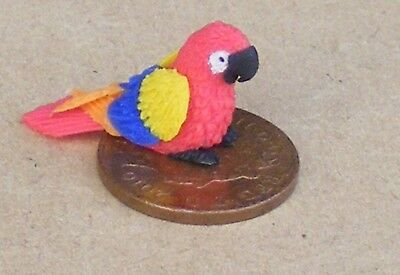 1:12 scale small green polymer clay parrot dolls house exotic birds