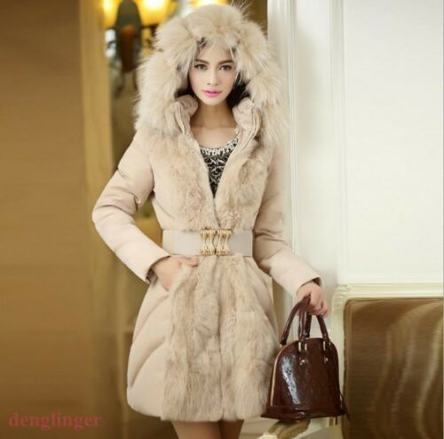 Parka Chic Bomuld Cllar Faux Downcoat vinterkjole Hooded Fur Long Outwear qqw8Zrx5v