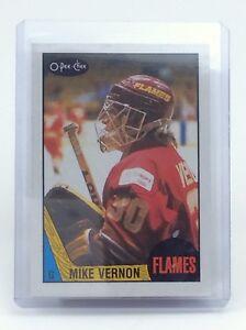 1987-1988-Mike-Vernon-215-Calgary-Flames-OPC-O-Pee-Chee-Ice-Hockey-Card-H631