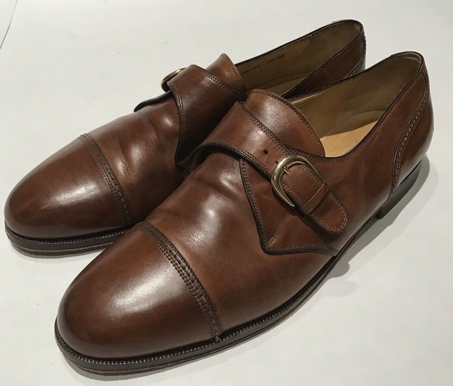 Cole Haan Monk Strap Cap Toe Dress Shoes Brown Pelle Size 11 M Italy VTG