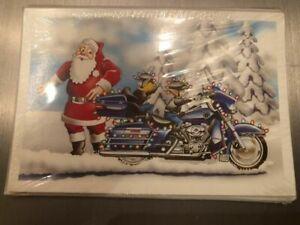 10 HARLEY DAVIDSON CHRISTMAS CARDS #X149 SANTA RACING ELF ON HARLEY