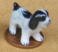 1:12 Dolls House Miniature Small Black & White Ceramic Ornament Puppy Dog H