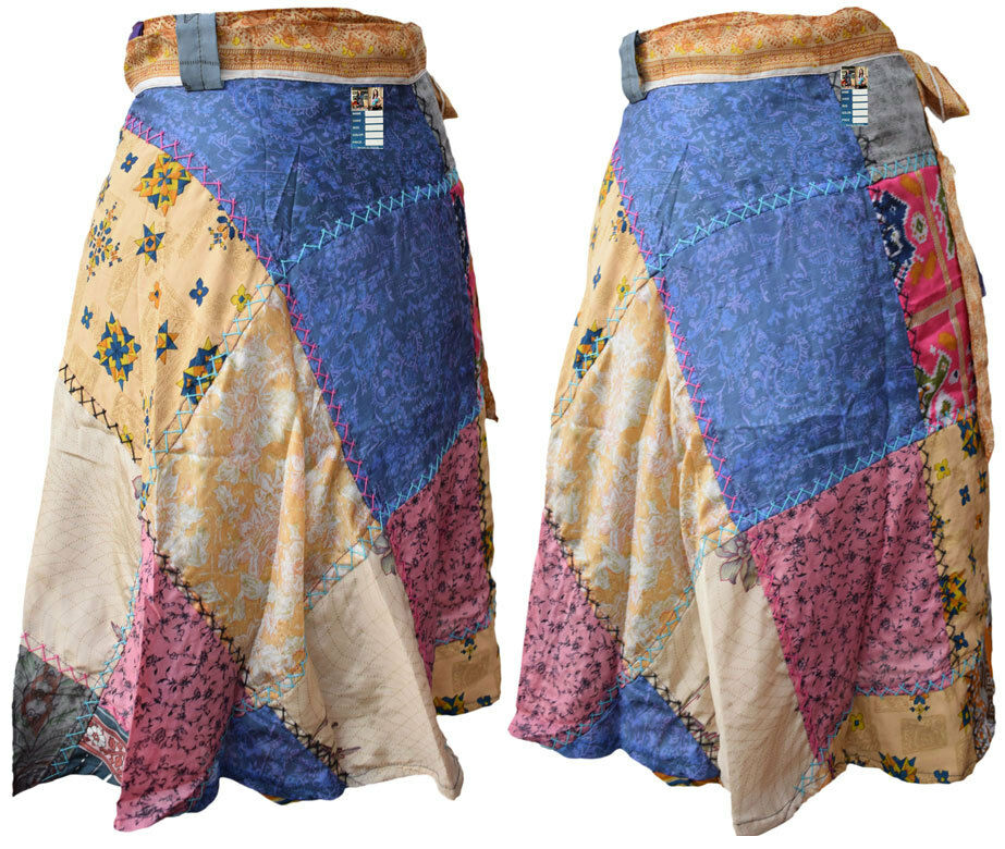 Patchwork Stitch Sarong Wrap Around Floral Hippie Bohemian Hand Made Fun Skirt