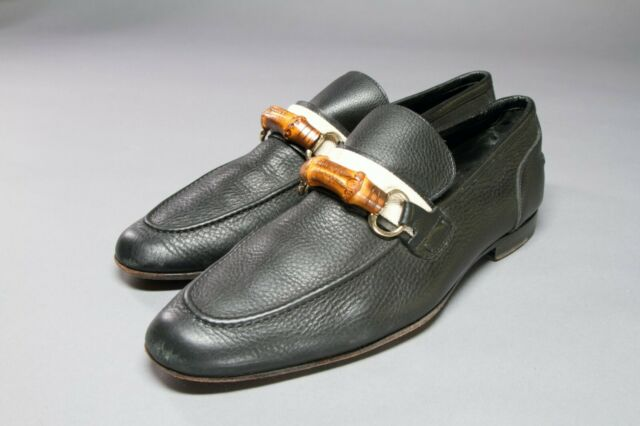 Gucci Mens Shoes Black Leather Horsebit