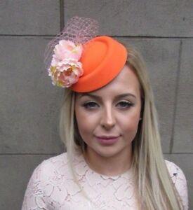 Orange Peach Peony Flower Net Pillbox Hat Hair Fascinator Races ... 213fae4b788