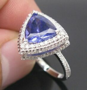 Trillion Cut Dark Blue Tanzanite Engagement Ring Solid 925 Sterling Silver Size7