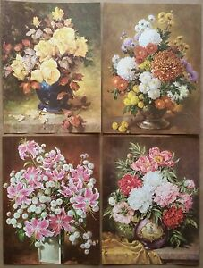 eBay & Details about Beautiful Flowers in Vases Qty of 4 Art Prints George Hinke 1961