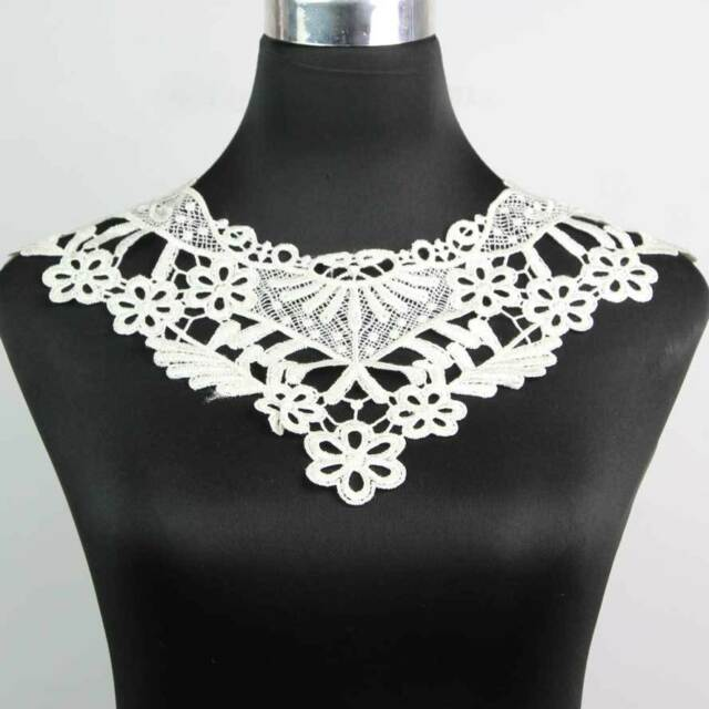 Elegant New Flower Embroidered Venise Applique Dress Neckline Lace Collar Trims