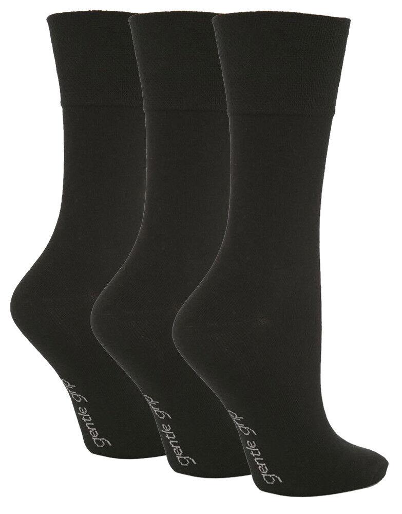 3 Paires Mesdames Plain Noir Gentle Grip Coton Everyday Chaussettes, Taille 4-8 Un BoîTier En Plastique Est Compartimenté Pour Un Stockage En Toute SéCurité
