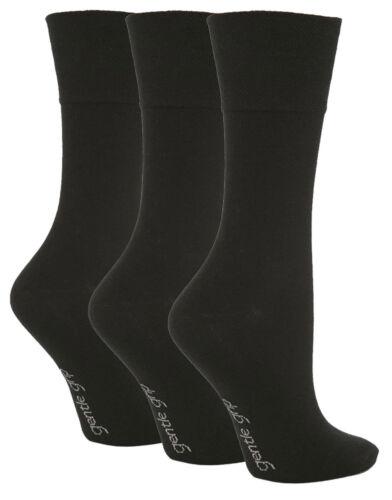 3 Pairs Ladies Plain Black Gentle Grip Cotton Everyday Socks Size 4-8