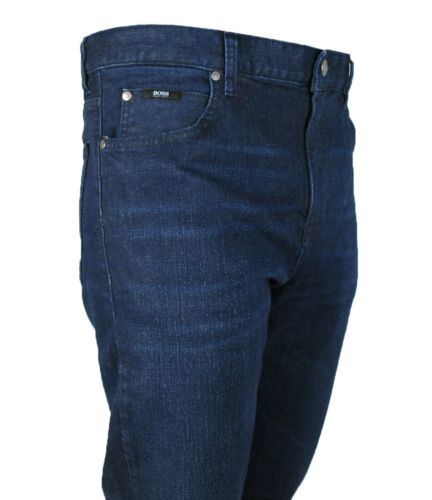Boss Black Jeans Alabama Comfort Fit Navy Blue Brushed Stretch