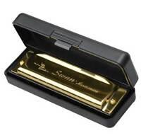 Swan Harmonica 10 Holes Key Of C Golden W/ Case Blues Harp Metal Steel