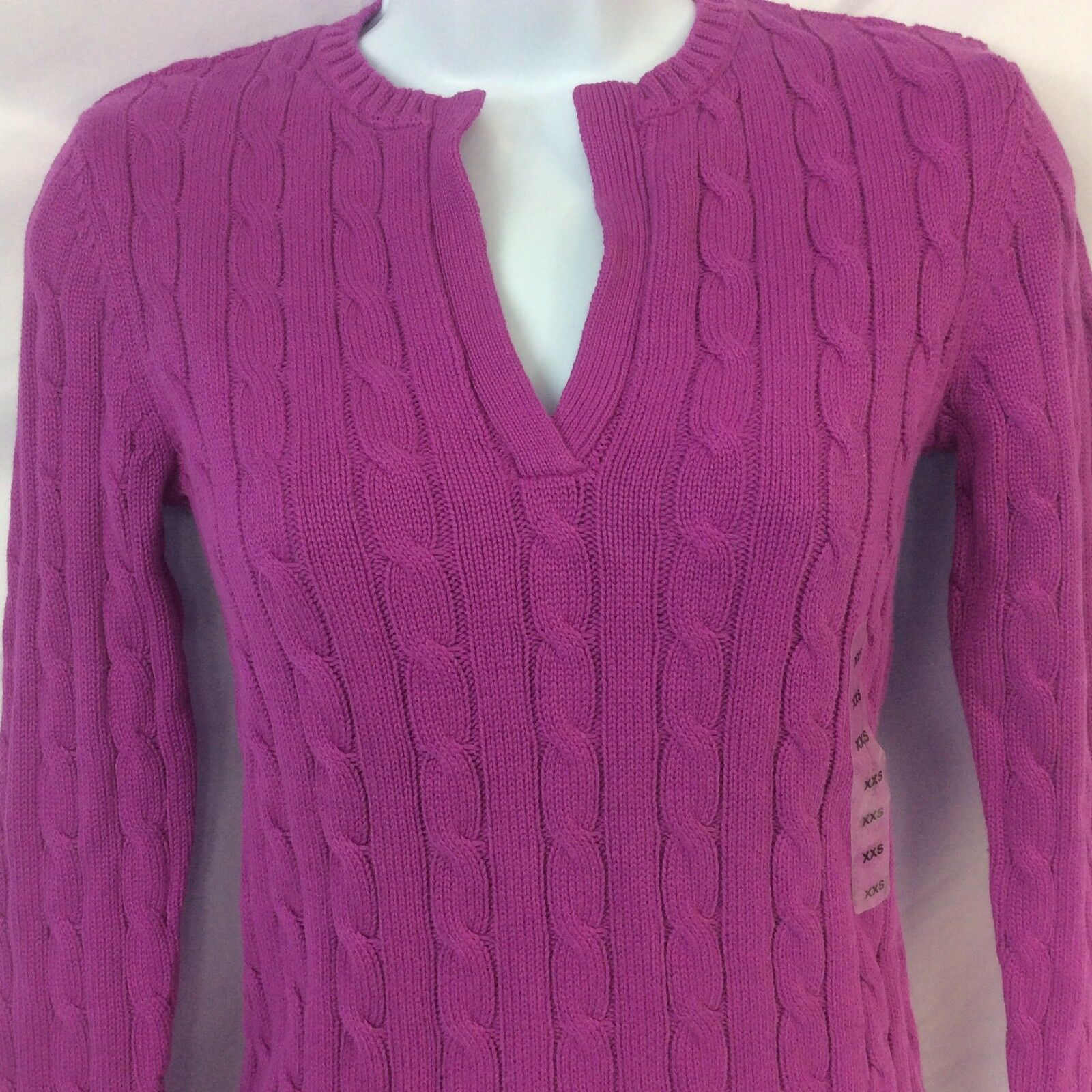 Lauren Ralph Lauren Womens Sweater Cable Knit Size XXS Pink Retail