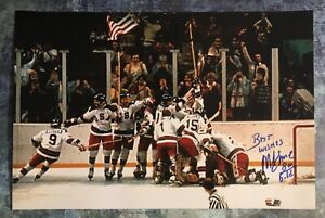 GFA 1980 Miracle on Ice Captain MIKE ERUZIONE Signed 12x18 Photo M6 COA