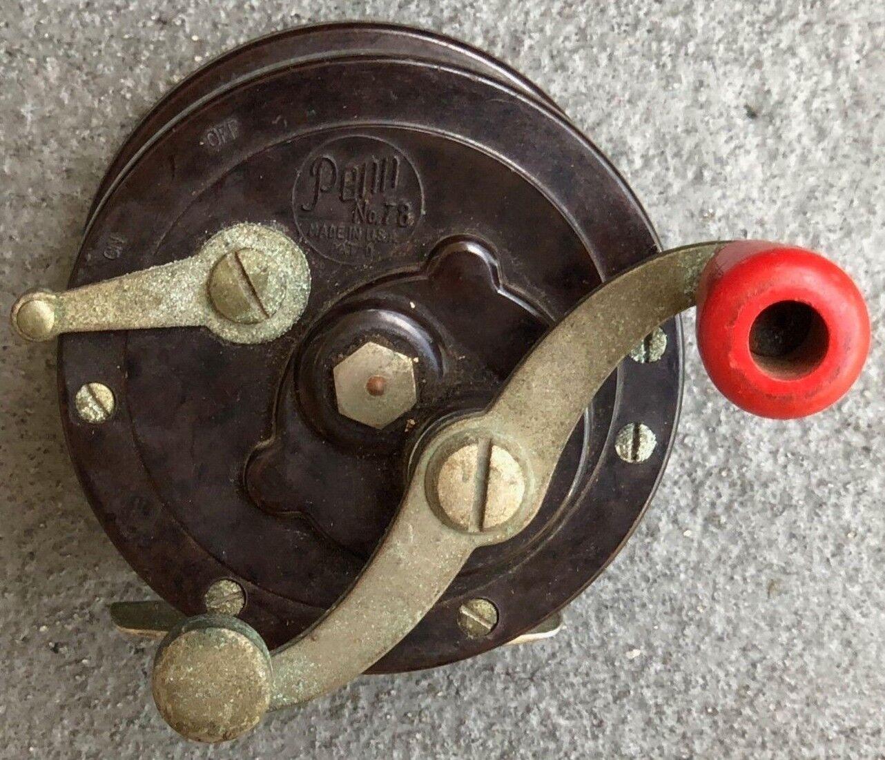 Vintage Penn 78 Level Wind Cebo Casting Reel de Pesca lados De Baquelita