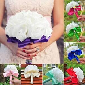 Wedding-Bouquet-Crystal-Pearl-Flower-Bridal-Bridesmaid-Rose-Foam-Flower-Handmade