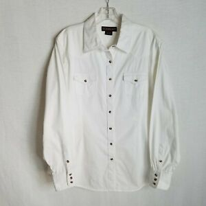ARIAT-Womens-White-Button-Front-Long-Sleeve-Western-Shirt-size-XL-S104