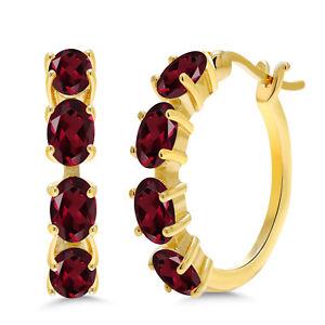 4-00-Ct-Oval-Red-Rhodolite-Garnet-18K-Yellow-Gold-Plated-Silver-Hoop-Earrings