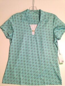 Ladies-Short-Sleeve-Golf-Shirt-Aqua-w-black-Small