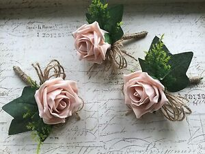 Image Is Loading 3 X Vintage Dusky Pink Blush Rose Onholes