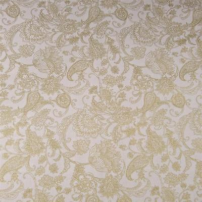 White & Metallic Gold Brilliant Jacobean Floral Print by Kaufman, Cotton Fabric