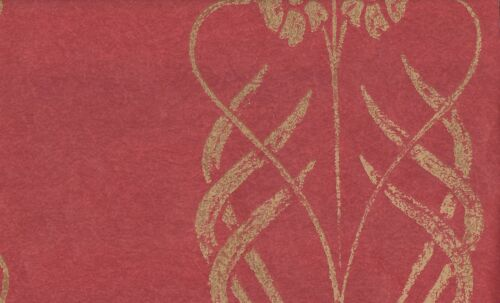 Wallpaper Arts /& Crafts Tan Floral Stripe on Red Faux