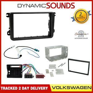 Double-Din-Fascia-Panel-Adapter-Plate-Cage-Fitting-Kit-for-VW-Golf-Passat-Touran