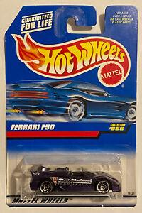 1998 HotWheels FERRARI F50 Viola Carta a lungo! molto RARO! Nuovo di zecca! MOC!
