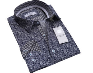 Men-s-British-Designer-Luxury-Cotton-Printed-Shirt-Size-S-to-3XL-Casual-Formal