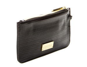STEVE-MADDEN-Women-039-s-Patent-Textured-Wristlet-Wallet-Black-Gold-Accents-MO187730