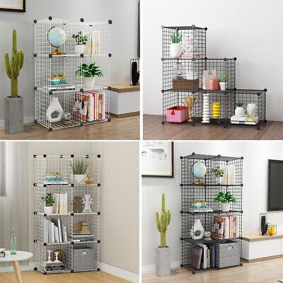 6//8//12 Cube Storage Shelf Rack DIY Wire Grid Bookcase Display Cabinet Toy Shoe