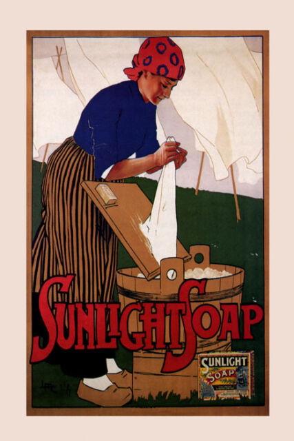 Woman Washing Clothes Sunlight Soap Fashion Fine Vintage Poster Repro FREE S/H
