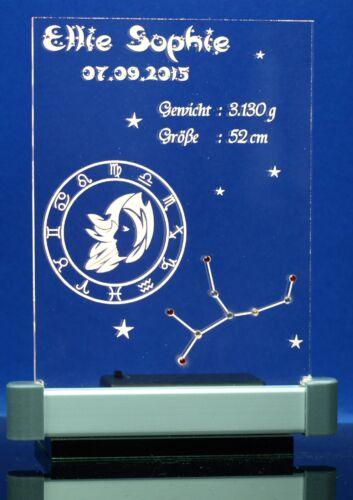 Acrylscheibe Sternzeichen Gravur mit Strasssteinen ohne oder mit LED-Beleuchtung