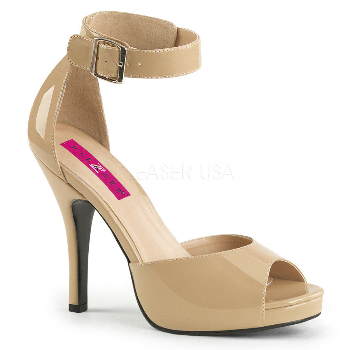 PLEASER PINK LABEL EVE-02 CREAM PATENT ANKLE STRAP HIGH HEEL SANDALS Schuhe