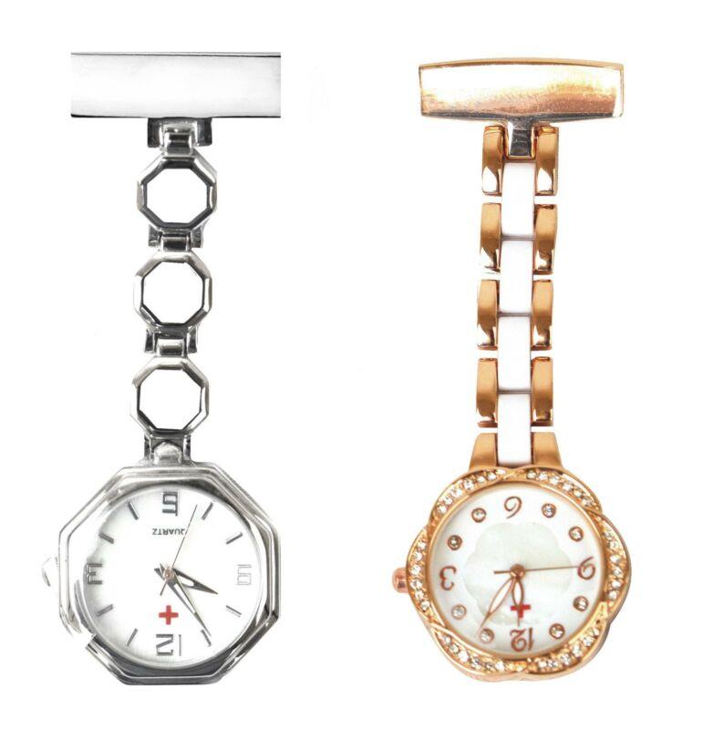 Engraved Medical Nursing Fob Watch Octagonal White Brooch Silver Rose Gold