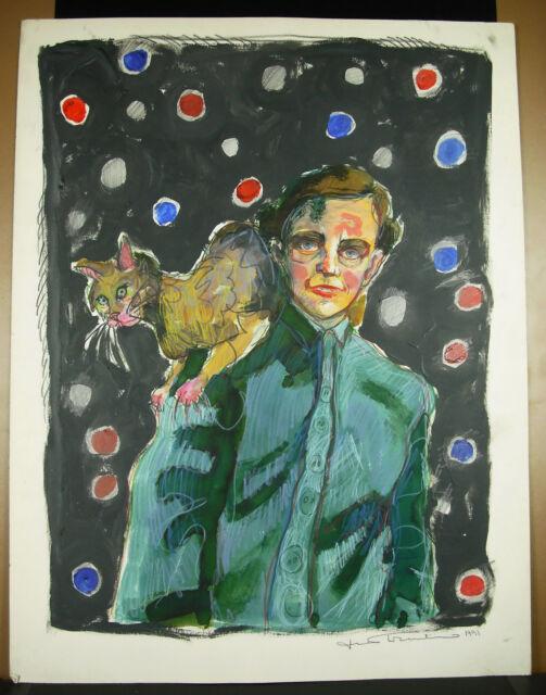 Drawing Original Signature IN Determine Art Modern Un Man And His/Her Cat 65 CM
