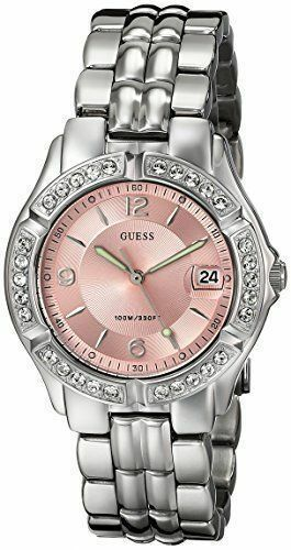 GUESS Women's G75791M Sporty Silver-Tone Watch with Pink Dial