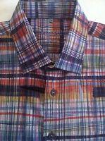 Visconti Black Men's L/s Multi-color Striped Shirt Xl X-large $145 Cool