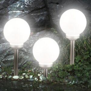 3er-Set LED Solarleuchte Kugel Garten Beleuchtung Außen Leucht Lampe Nacht Licht