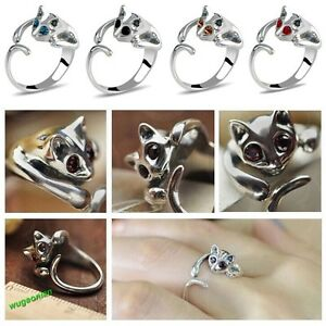 1-Pc-Women-Lovely-Silver-Plated-Adjustable-Kitten-Cat-Animal-Crystal-Alloy-Ring