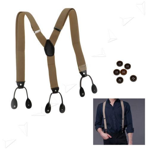 Mens Unisex Fashion Style Adjustable 35mm 6 Button Holes Suspenders Braces Belt